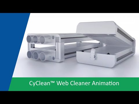 Video of compact, high performance, non-contact web cleaning system with cleaning head and active static control.