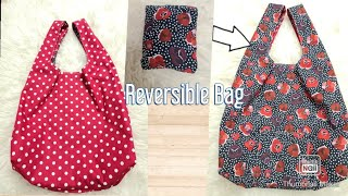 DIY Reusable Grocery Bag Tutorial/Reversible Market Bag/Shopping Bag That Folds In To A Pocket