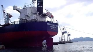 貨物船進水式を後ろから見る2011年2月9日@常石造船