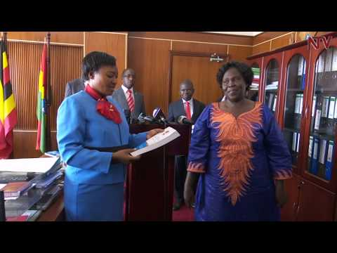 Winnie Kiiza hands over office to Betty Aol Ochan