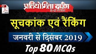 सूचकांक एवं रैंकिंग 2019 January-December, 80 MCQs via Pratiyogita Darpan Current Affairs