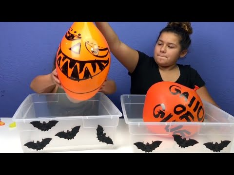 Super funny Making Slime with balloons Challenge - Slime balloon Tutorial  Happy Halloween Slime