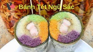 Cách Gói Bánh Tét Ngũ Sắc Nước Dừa Thơm Ngon ở Canada - Five Color Sticky Rice Cakes