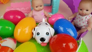 Baby doll surprise eggs and pet dog slide park toys play
