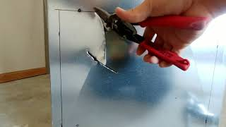 How To Cut a Hole In Sheet Metal or Duct Work Using Basic Tools & Left & Right Aviation Tin Snips