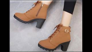 Best Winter High Block Heel Boots For Girls  || Platform Leather Shoes For Ladies