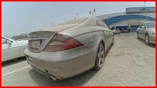 Abandoned Mercedes Benz CLS 63 AMG in Dubai. Abandoned luxury car in Arab Emirates