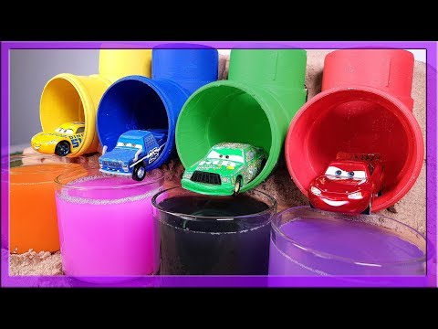 Learn Colors Disney Lightning Mcqueen Cruz Ramirez Jackson Storm Colored Pipe Tunnel Jump