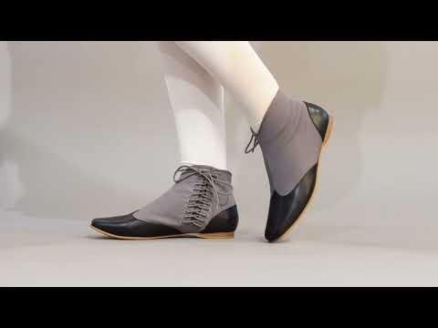 PRE-ORDER Keckley Victorian Side-Lace Boots (Grey/Black)