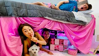 We Built a SECRET Girls Lounge under his BED!!