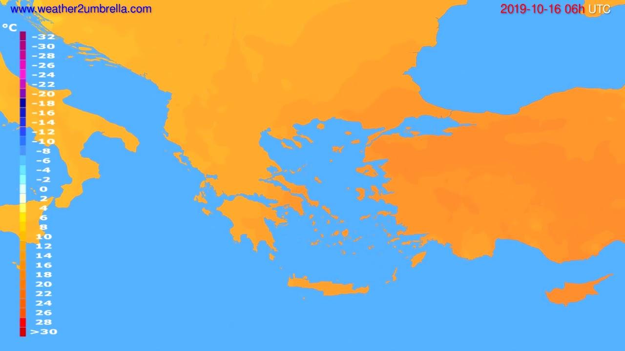 Temperature forecast Greece // modelrun: 12h UTC 2019-10-13