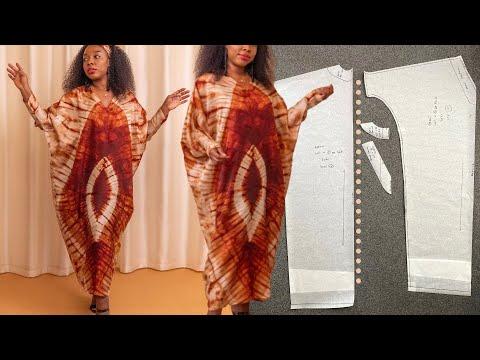 Easy Kaftan Abaya Cutting & Stitching | Adire Bubu Gown Tutorial