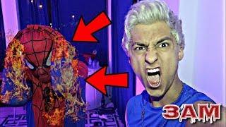 DO NOT BURN HAUNTED SPIDERMAN DOLL AT 3AM!! *OMG BURNING SPIDER-MAN*