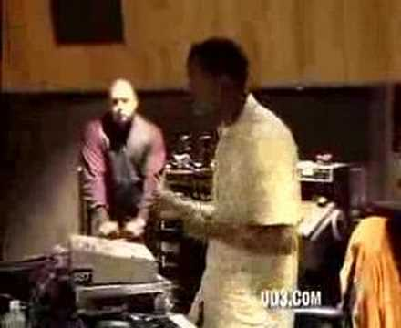 Kanye West making an ill track in the studio