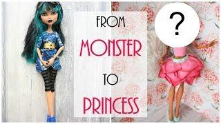 Monster High Doll Repaint - From Monster to Flower Princess - How to Easy DIY Tutorial, Custom BJD