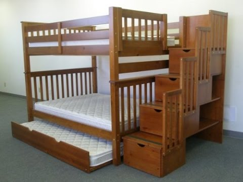 Bedkings full over full with twin trundle and stairway bunk bed review