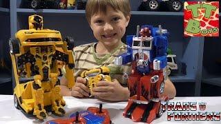 ✔ Трансформеры. Кто сильнее Оптимус Прайм или Бамблби. Видео для мальчиков / Transformers