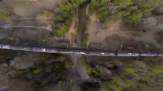 Canadian pacific railway train on bridge, Freestyle drone point of view
