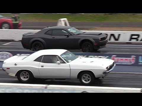 Dodge Demon vs Old School Muscle Cars - drag racing