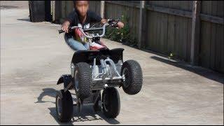6 Years Old Kid Wheelies Four-wheeler