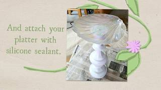 DIY Bird Bath Using A Vintage Lamp And Glass Platter From The Thrift Store By Sadie Seasongoods