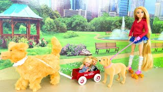 Dog pulls Skater Barbie! Doggie Park! Dream House New Furniture! Hündchen Chiot boneka Cachorro جرو