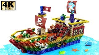 DIY How To Make Easy Pirate Ship With Magnetic Balls (Magnet Satisfaction) 💖 Surprise Balls