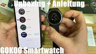 GOKOO Smartwatch Wasserdicht Touchscreen Fitness Tracker Stoppuhr Pulsuhren Unboxing und Anleitung