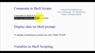 Shell Scripting : Create User defined variables