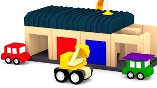 Мультфильмы все серии подряд. 4 машинки играют в конструктор.