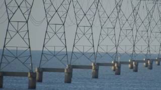 Driving East To West Past Lake Pontchartrain Transmission Lines - (Debunk Flat Earth)