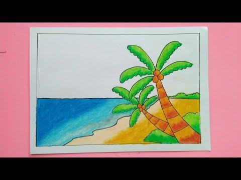 Catatanku Anak Desa Cara Mewarnai Gambar Pantai Dengan Crayon