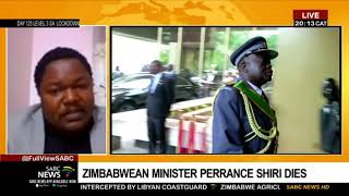 Zimbabwean Agriculture Minister Perrance Shiri has died. His death has been confirmed by the country's President, Emmerson Mnangagwa. Shiri, a retired general, was involved in some key moments in Zimbabwe's checkered history. Tichaona Zindoga, Zimbabwean Journalist & Founder of Review & Mail online newspaper joins us live on Minister Shiri's death.  For more news, visit sabcnews.com and also #SABCNews, #Coronavirus, #COVID19, #COVID-19News on Social Media.
