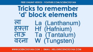 Trick to remember d block elements easily. Easy way to learn 3d 4d and 5d series.   Science Gyan