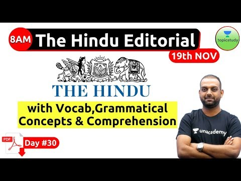 8:00 AM - The Hindu Editorial Analysis by Ashutosh Sir | 19th Nov |  Bank, SSC, UPSC & State PSC