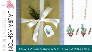 How To Wrap A Christmas Present With A Bow And Gift Tag