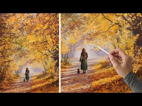 Oil painting. How to paint autumn   Живопись маслом