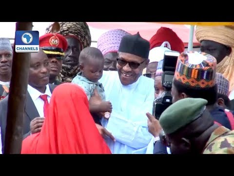 Buhari Meets With IDPs In Katsina, Vows To Deal With Banditry, Kidnapping