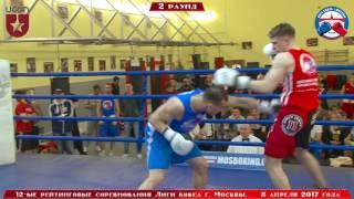 12-е рейтинговые бои Лига бокса г. Москвы  – 08.04.17 г. до 81 кг.