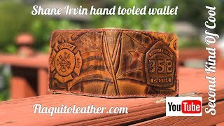 Flaquito Leather wallet hand tooled by Shane Irvin