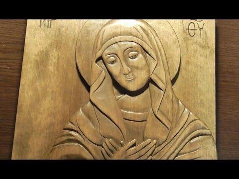 , title : 'Резьба по дереву. Резная икона Богородицы Умиление. Весь процесс резьбы'