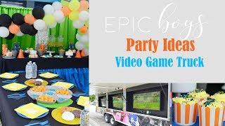 Kids BIRTHDAY PARTY Ideas!! (Boys Video Game Truck) || ORGANIC BALLOON GARLAND