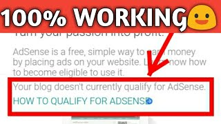 How to Fix Your blog doesn't currently qualify for AdSense In Hindi