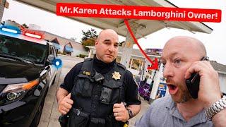 CRAZY GUY ATTACKS LAMBORGHINI OWNER AT  GAS STATION!  POLICE SWARM...