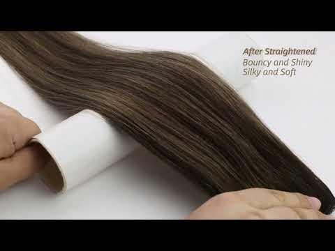 Full Shine 100% Human Hair Halo Extensions Balayage Brown Highlighted (#2/6/2)