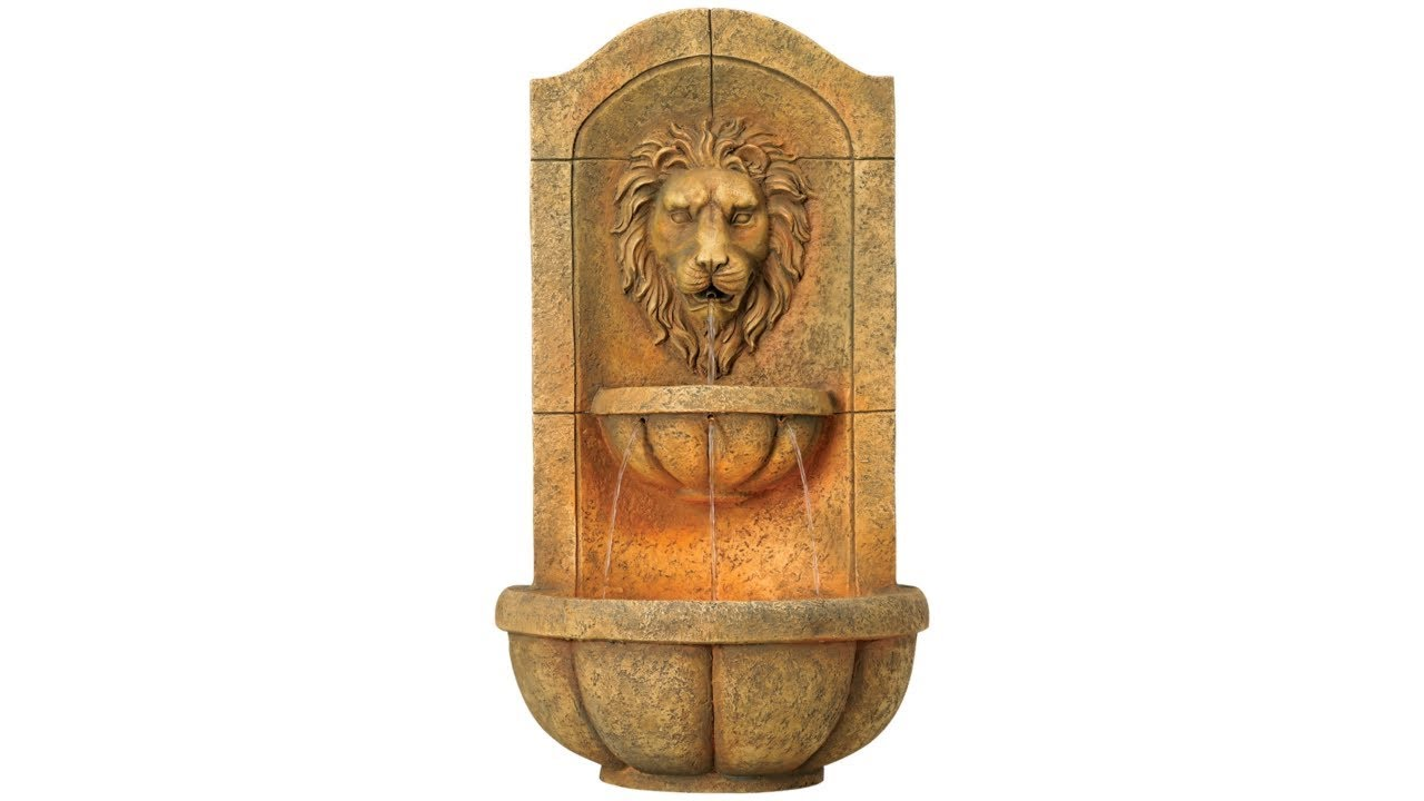 "Lion Head Faux Stone 29 1/2"" High LED"