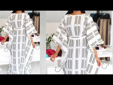 How To Make Simple Kaftan Dress With Keyhole / step by step / beginners friendly