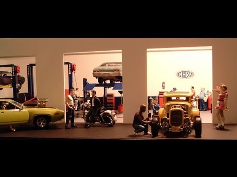 1:18 Speed Shop Diorama & Hot Rod / Muscle Car Die Cast Cars Scenes