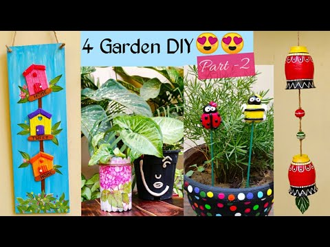 4 Garden DIY Ideas Part-2/ Garden Decoration Ideas/ Garden Decor from Waste Material/ Craft Club