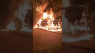 В Николаеве ночью дотла сгорел BMW X5 (видео)